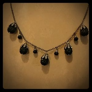 Black pave bead necklace